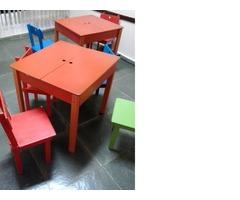 Conjuntos de mesa e cadeira infantil em madeira colorida para escola infantil quarto de criança