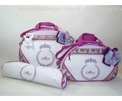 Kit 3 Bolsas Maternidade com nome do bebê bordado