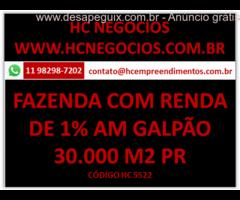 Imóvel com Renda de 1% am Fazenda Rio Grande no Paraná com 30.454 m2 de galpão com renda de 1%,