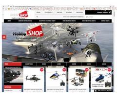 Loja de brinquedo de controle remoto, drones, aviões, helicópteros, carros, barcos e motos.
